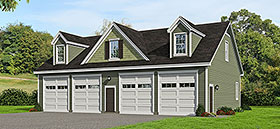 Garage Plan 51686 | Cape Cod Colonial Country Farmhouse Saltbox Traditional Style Plan, 4 Car Garage Elevation
