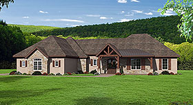 House Plan 51687 | Bungalow Country Craftsman European French Country Ranch Traditional Style Plan with 2916 Sq Ft, 3 Bedrooms, 3 Bathrooms, 3 Car Garage Elevation