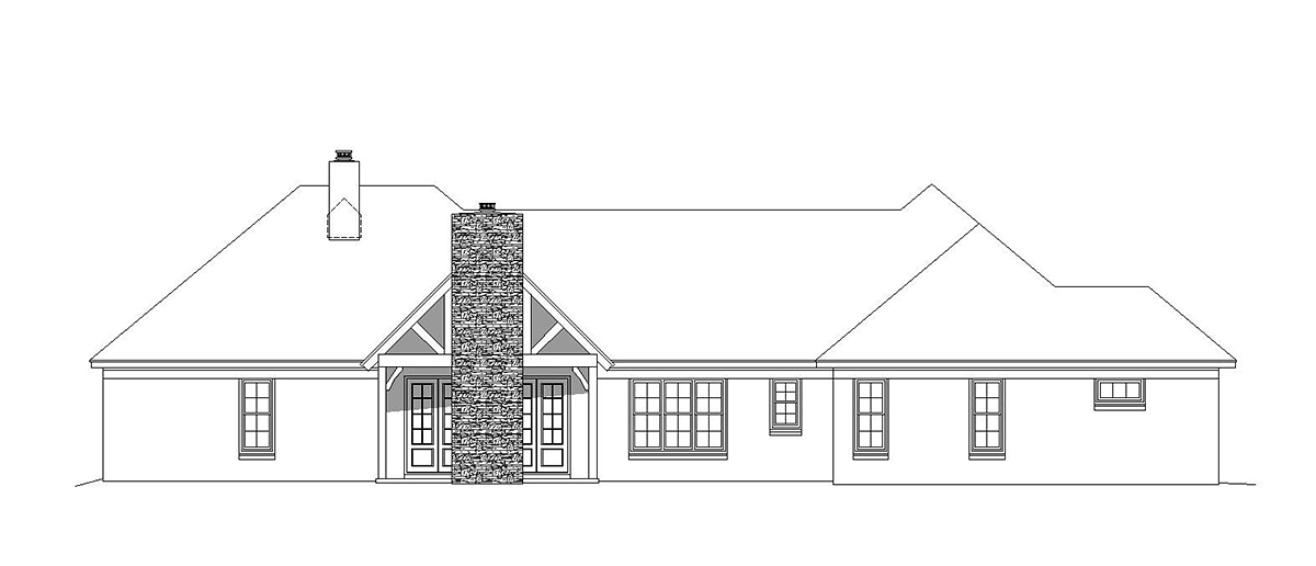 House Plan 51687 | Bungalow Country Craftsman European French Country Ranch Traditional Style Plan with 2916 Sq Ft, 3 Bedrooms, 3 Bathrooms, 3 Car Garage Rear Elevation