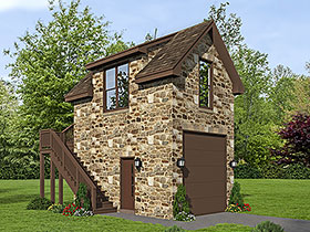 Garage Plan 51691   French Country Traditional Style Plan, 1 Car Garage Elevation