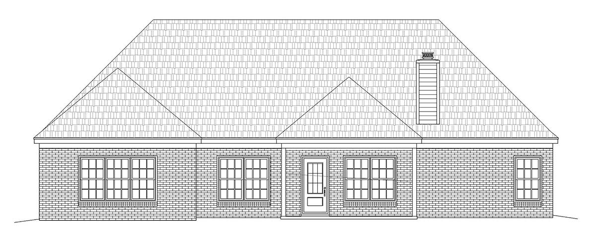 Bungalow, Colonial, Country, Craftsman, European, Farmhouse, French Country, Ranch, Traditional House Plan 51693 with 3 Beds, 2 Baths, 2 Car Garage Rear Elevation