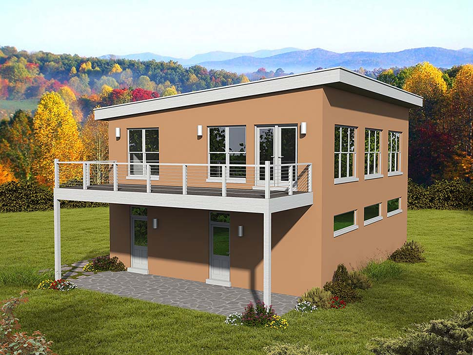 Coastal Contemporary European Modern Traditional Elevation of Plan 51695