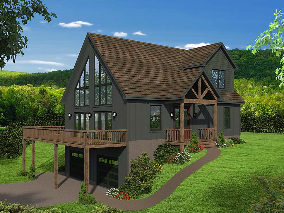 Contemporary Country Craftsman Elevation of Plan 51696