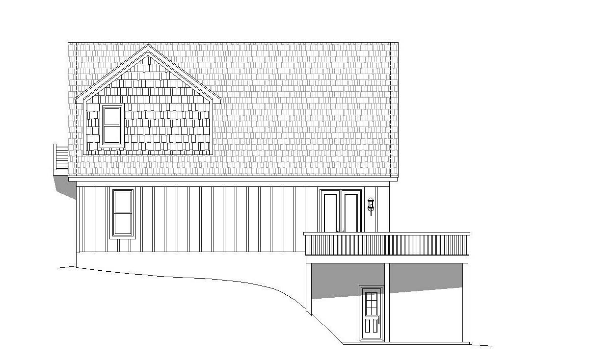Contemporary Country Craftsman Rear Elevation of Plan 51696