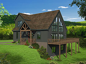 House Plan 51697 | Contemporary Modern Style Plan with 1736 Sq Ft, 3 Bedrooms, 3 Bathrooms Elevation