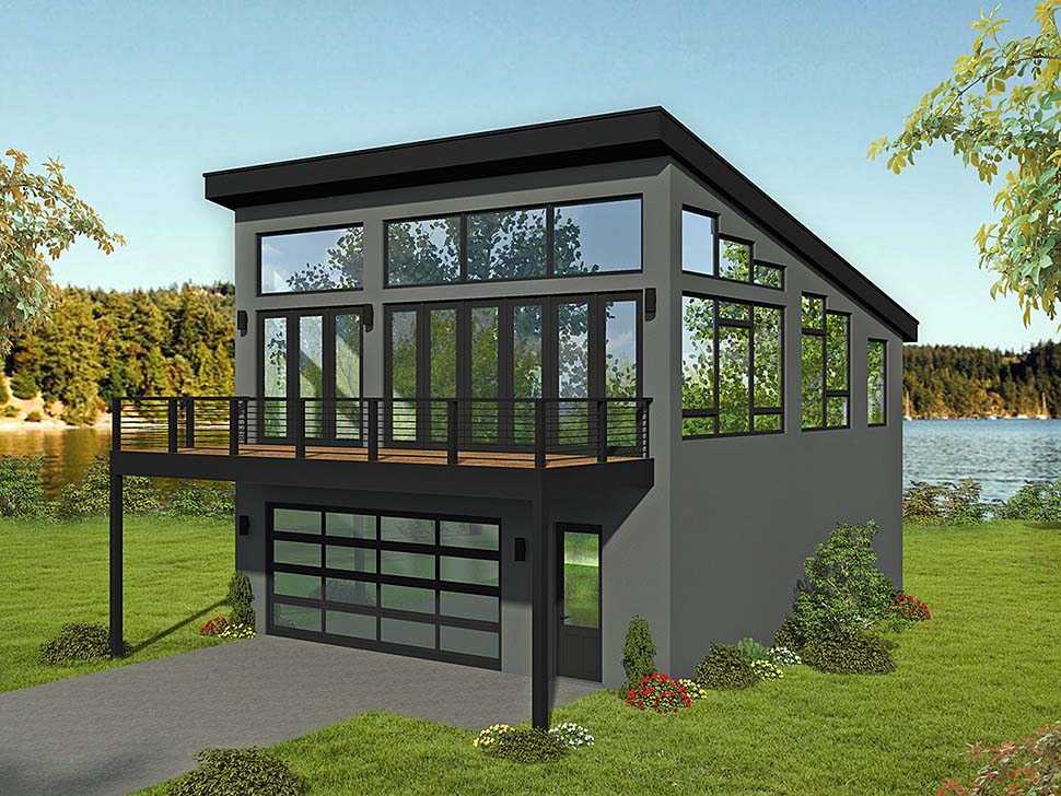 Contemporary, Modern 2 Car Garage Apartment Plan 51698 with 1 Beds, 2 Baths Elevation