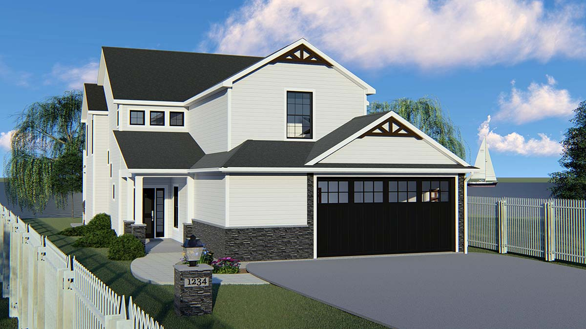Bungalow , Cottage , Country , Craftsman , Traditional , Tudor , Elevation of Plan 51800