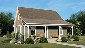 Cottage , Country , Southern House Plan 51802 with 1 Beds, 1 Baths Elevation
