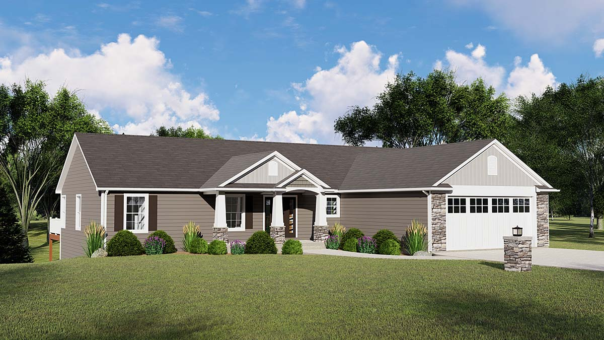 Country Craftsman Ranch Elevation of Plan 51803