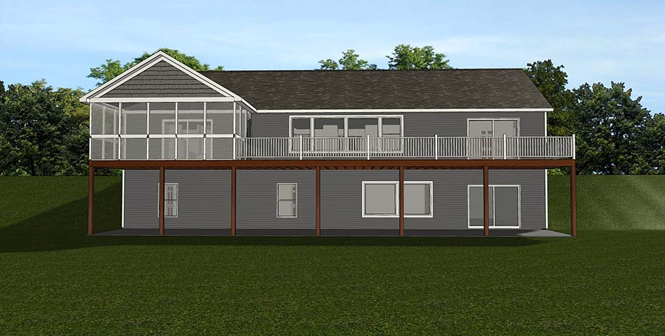 Country Craftsman Ranch Rear Elevation of Plan 51803