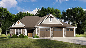 Craftsman , Traditional House Plan 51804 with 4 Beds, 3 Baths, 3 Car Garage Elevation