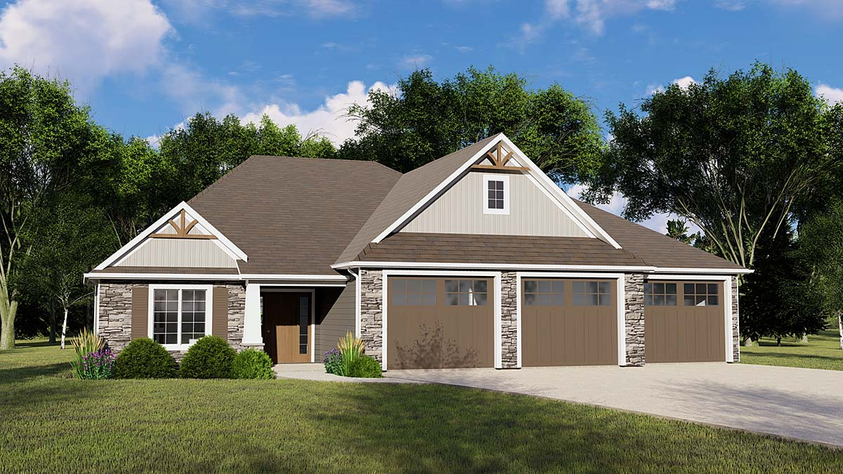 Craftsman, Traditional House Plan 51804 with 4 Beds, 3 Baths, 3 Car Garage Front Elevation