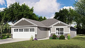 Bungalow House Plan 51805 with 2 Beds, 2 Baths, 2 Car Garage Elevation