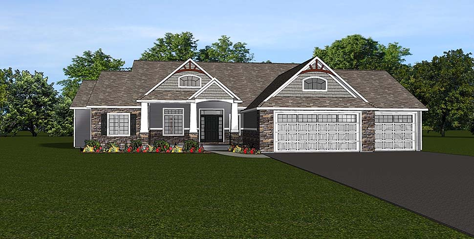 House Plan 51807 | Craftsman Style Plan with 5346 Sq Ft, 5 Bedrooms, 4 Bathrooms, 3 Car Garage Elevation