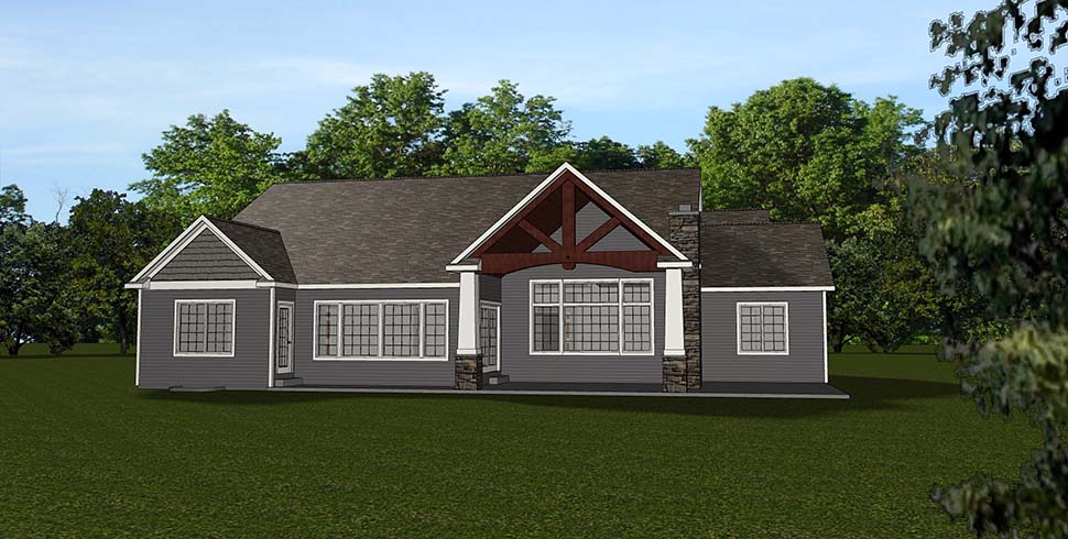 Craftsman House Plan 51807 with 5 Beds, 4 Baths, 3 Car Garage Rear Elevation