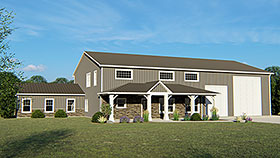 House Plan 51809 | Contemporary Modern Style Plan with 3658 Sq Ft, 3 Bedrooms, 2 Bathrooms, 2 Car Garage Elevation