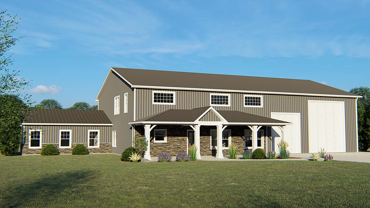 Contemporary, Modern House Plan 51809 with 3 Beds, 2 Baths, 2 Car Garage Elevation