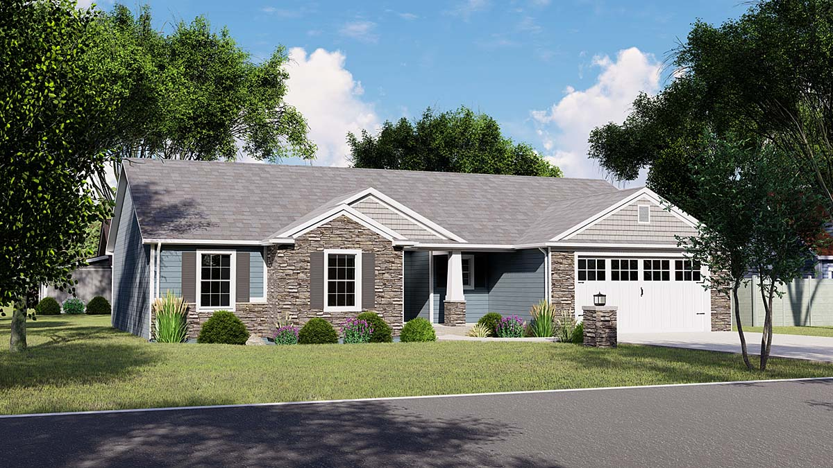 Craftsman, Ranch House Plan 51810 with 4 Beds, 4 Baths, 2 Car Garage Elevation
