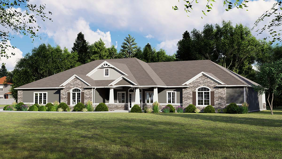 House Plan 51811 | Bungalow Country Craftsman Ranch Traditional Style Plan with 2583 Sq Ft, 3 Bedrooms, 2 Bathrooms, 3 Car Garage Elevation