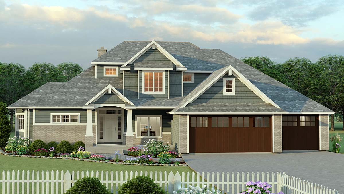 Craftsman House Plan 51812 with 4 Beds, 4 Baths, 3 Car Garage Front Elevation