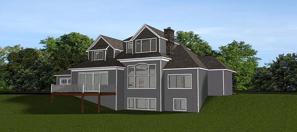 Craftsman House Plan 51812 with 4 Beds, 4 Baths, 3 Car Garage Rear Elevation