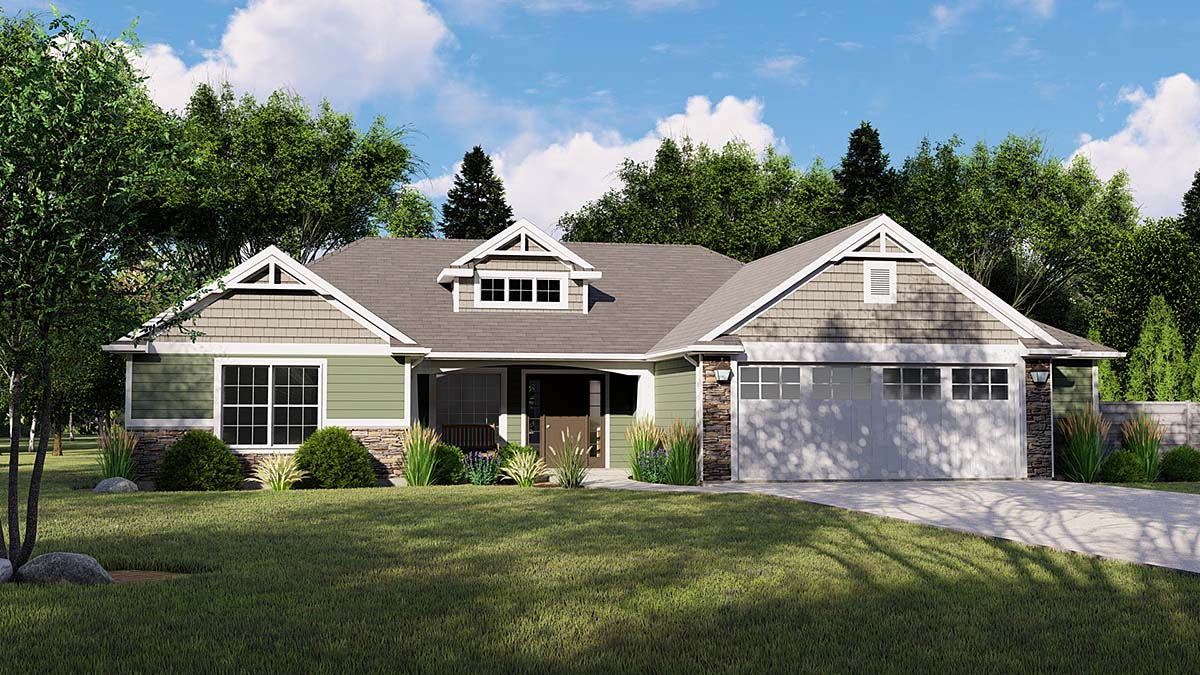 Bungalow Country Craftsman Traditional Elevation of Plan 51813