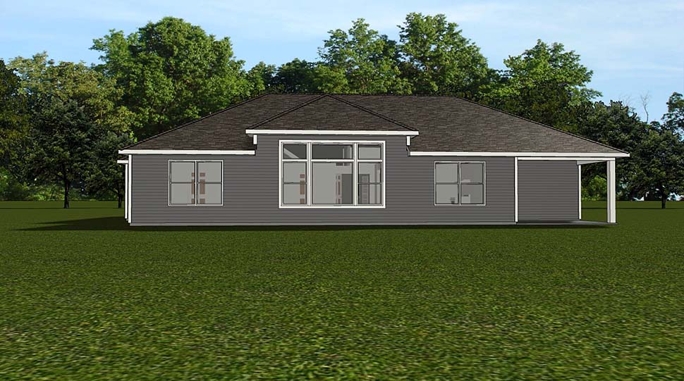 Bungalow Country Craftsman Traditional Rear Elevation of Plan 51813