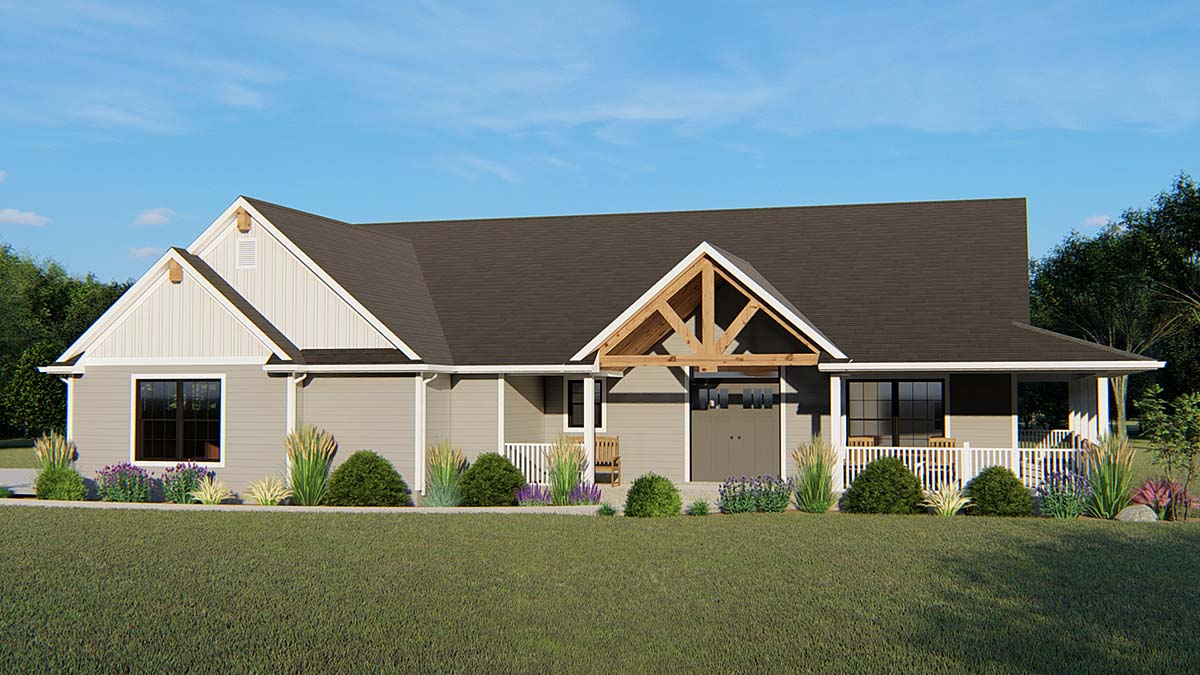 Bungalow , Country , Craftsman , Ranch , Traditional House Plan 51814 with 3 Beds, 2 Baths, 2 Car Garage Elevation