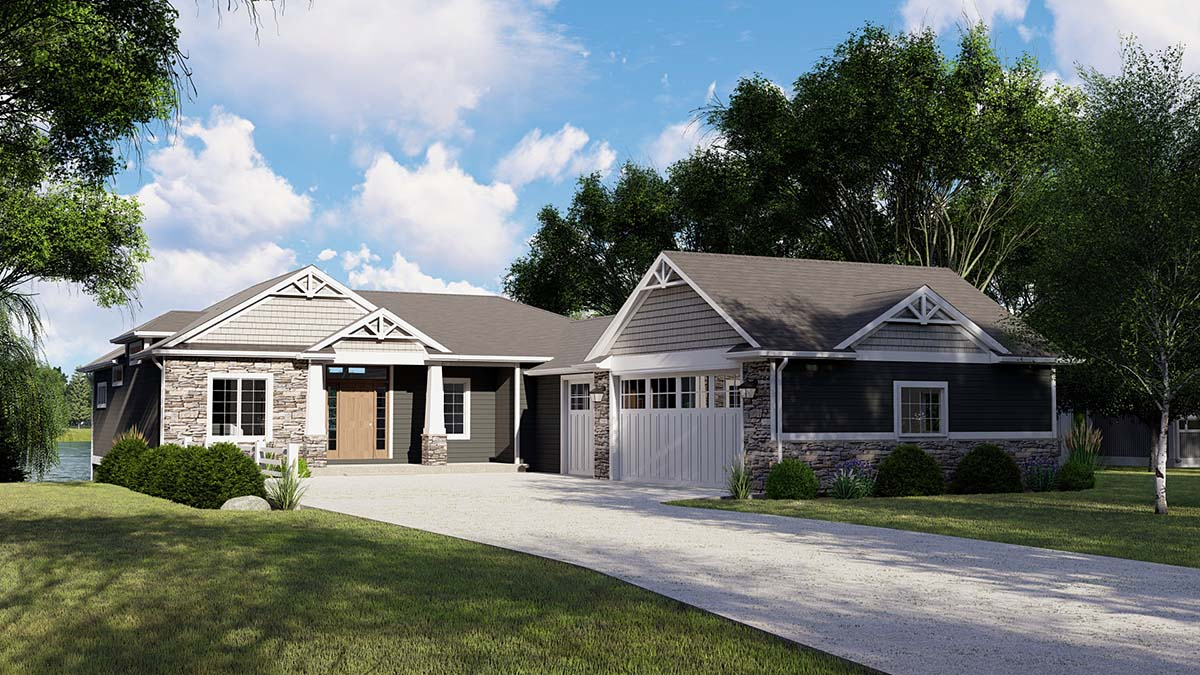 Bungalow, Coastal, Cottage, Country, Craftsman, Traditional, Tudor House Plan 51815 with 4 Beds, 5 Baths, 3 Car Garage Picture 1