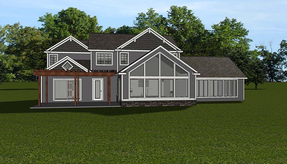 House Plan 51816 | Bungalow Coastal Cottage Country Craftsman Traditional Tudor Style Plan with 2656 Sq Ft, 3 Bedrooms, 3 Bathrooms, 3 Car Garage Rear Elevation