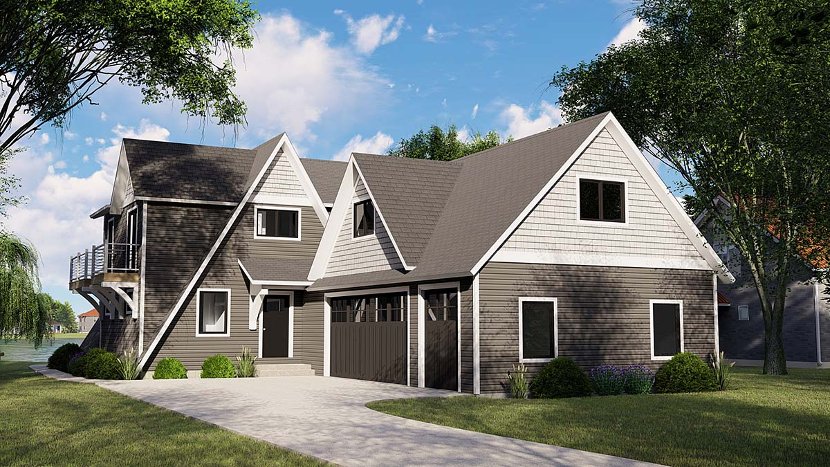 A-Frame, Bungalow, Coastal, Cottage, Craftsman, Tudor House Plan 51817 with 4 Beds, 4 Baths, 3 Car Garage Elevation