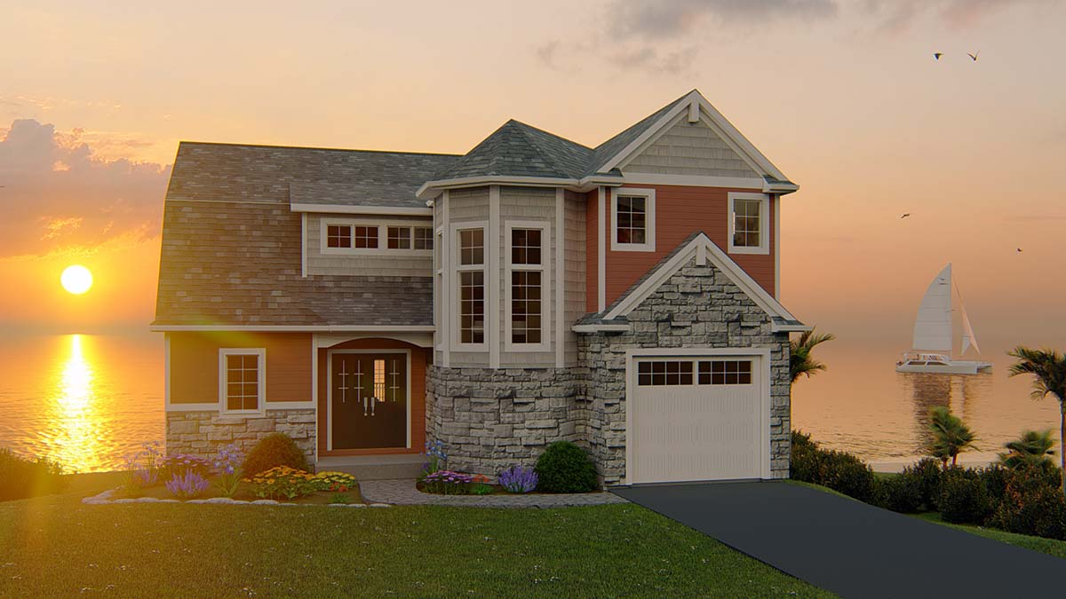Bungalow, Coastal, Cottage, Country, Craftsman, Traditional, Tudor House Plan 51818 with 5 Beds, 4 Baths, 1 Car Garage Elevation