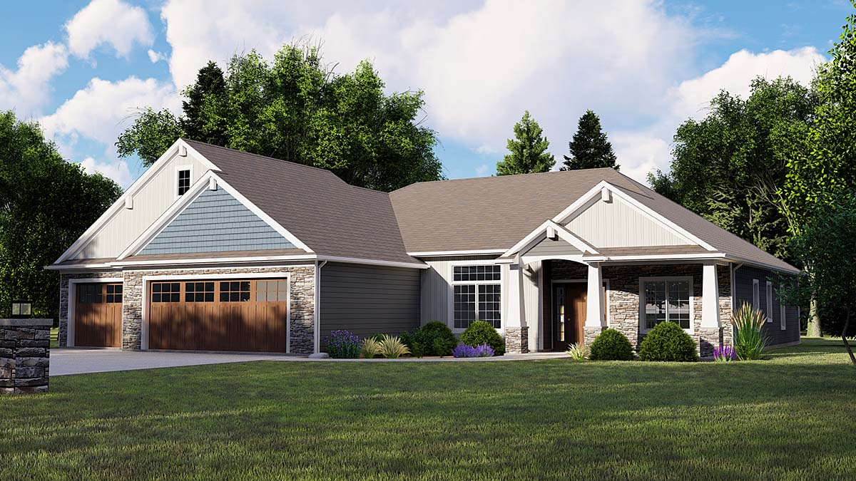 Bungalow, Country, Craftsman, Traditional House Plan 51819 with 3 Beds, 3 Baths, 3 Car Garage Elevation