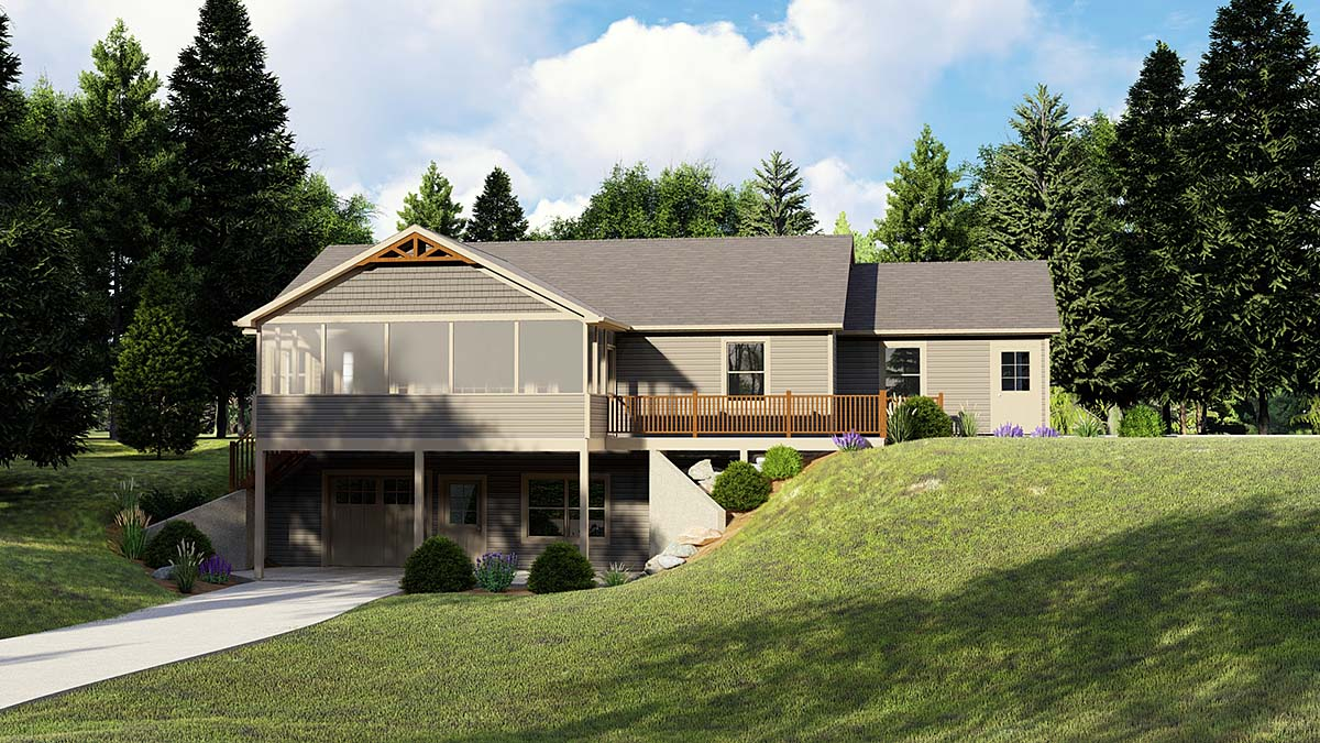 Ranch House Plan 51823 with 1 Beds, 2 Baths, 2 Car Garage Elevation