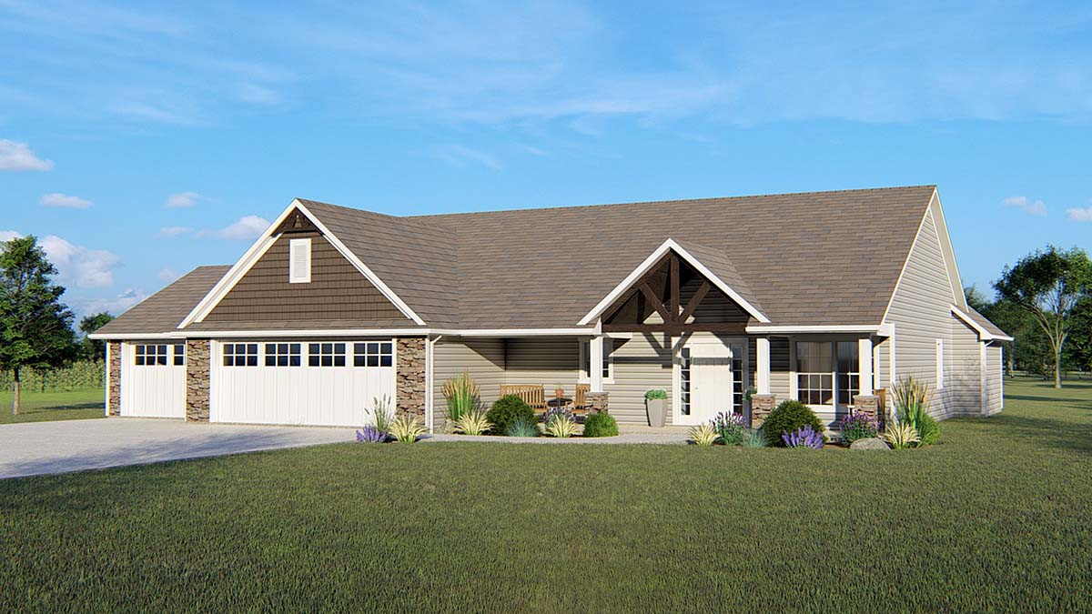 House Plan 51826 | Country Craftsman Ranch Style Plan with 2650 Sq Ft, 3 Bedrooms, 3 Bathrooms, 3 Car Garage Elevation
