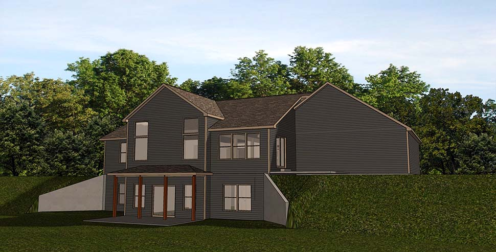 House Plan 51827 | Country Traditional Style Plan with 3422 Sq Ft, 1 Bedrooms, 3 Bathrooms, 2 Car Garage Rear Elevation