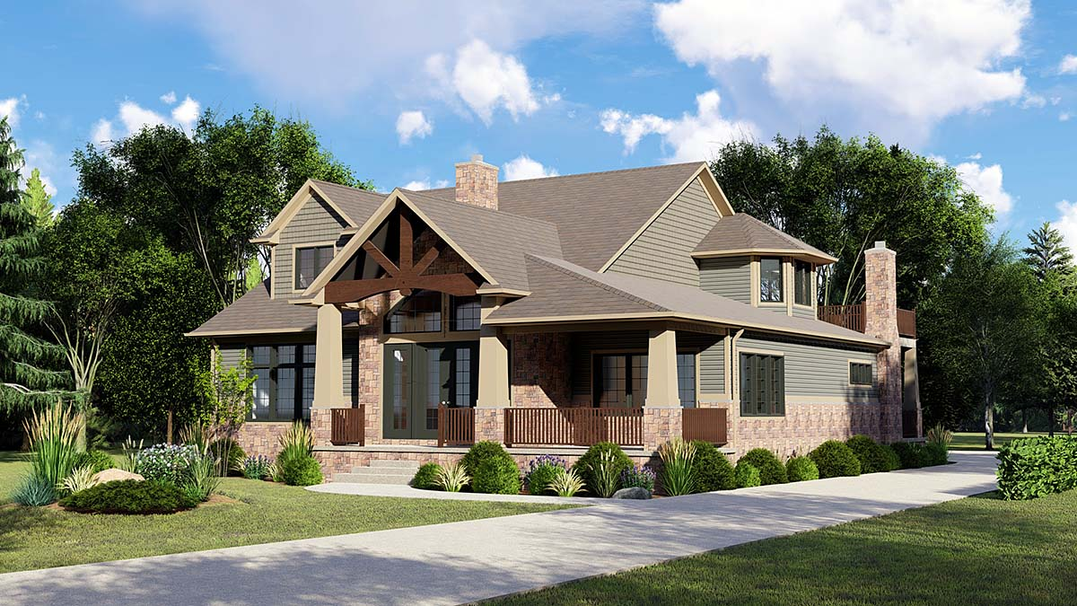 Craftsman House Plan 51828 with 4 Beds, 3 Baths, 2 Car Garage Elevation