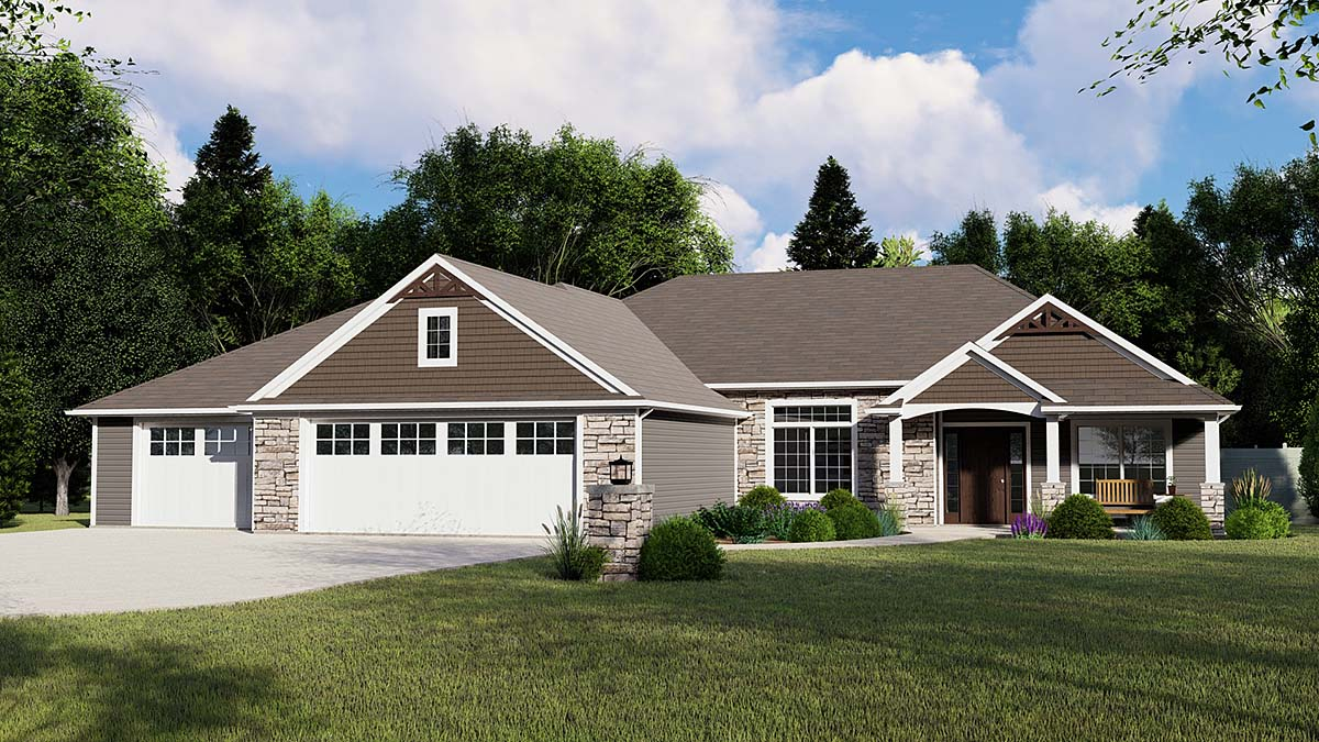 Ranch House Plan 51829, 3 Car Garage Elevation