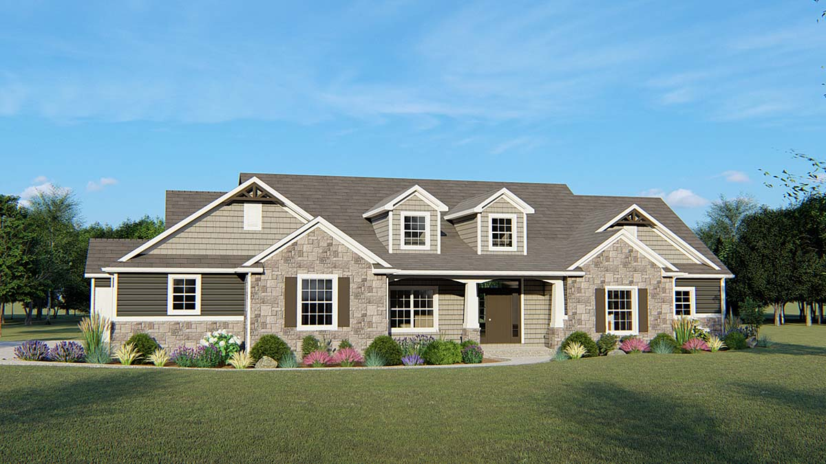 Country, Ranch, Traditional House Plan 51830 with 1 Beds, 3 Baths, 3 Car Garage Elevation