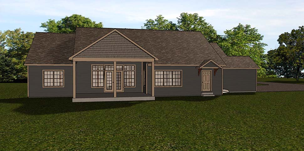 Country, Ranch, Traditional House Plan 51830 with 1 Beds, 3 Baths, 3 Car Garage Rear Elevation