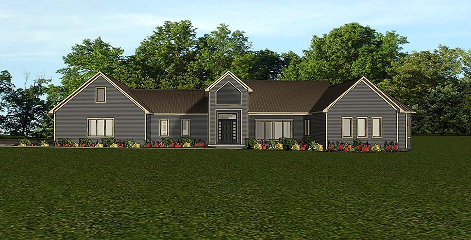 Country , Ranch House Plan 51833 with 3 Beds, 4 Baths, 3 Car Garage Elevation