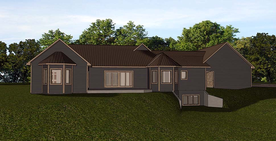 Country , Ranch House Plan 51833 with 3 Beds, 4 Baths, 3 Car Garage Rear Elevation
