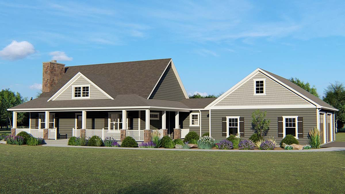 Country Farmhouse Southern Elevation of Plan 51834
