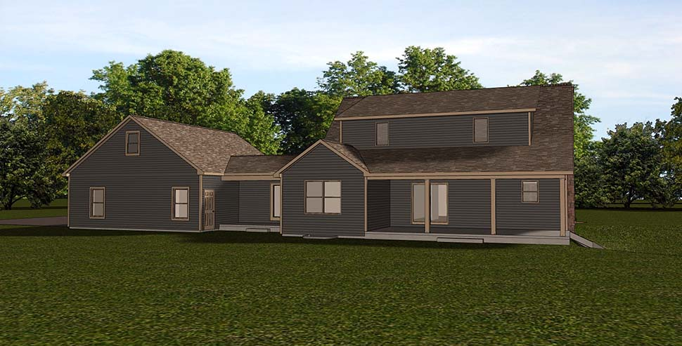 Country Farmhouse Southern Rear Elevation of Plan 51834