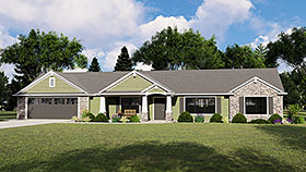 House Plan 51835 | Country Craftsman Ranch Style Plan with 1576 Sq Ft, 2 Bedrooms, 2 Bathrooms, 2 Car Garage Elevation