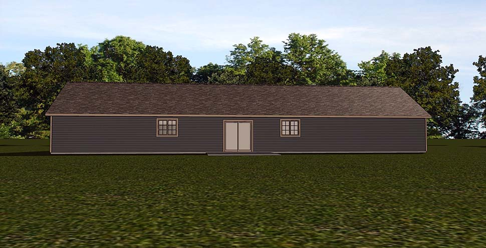 Country Craftsman Ranch Rear Elevation of Plan 51835
