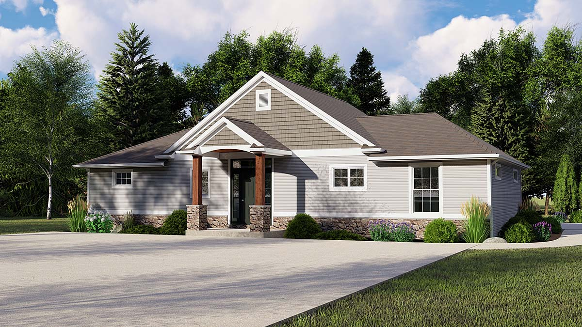 Craftsman Ranch Traditional Elevation of Plan 51836