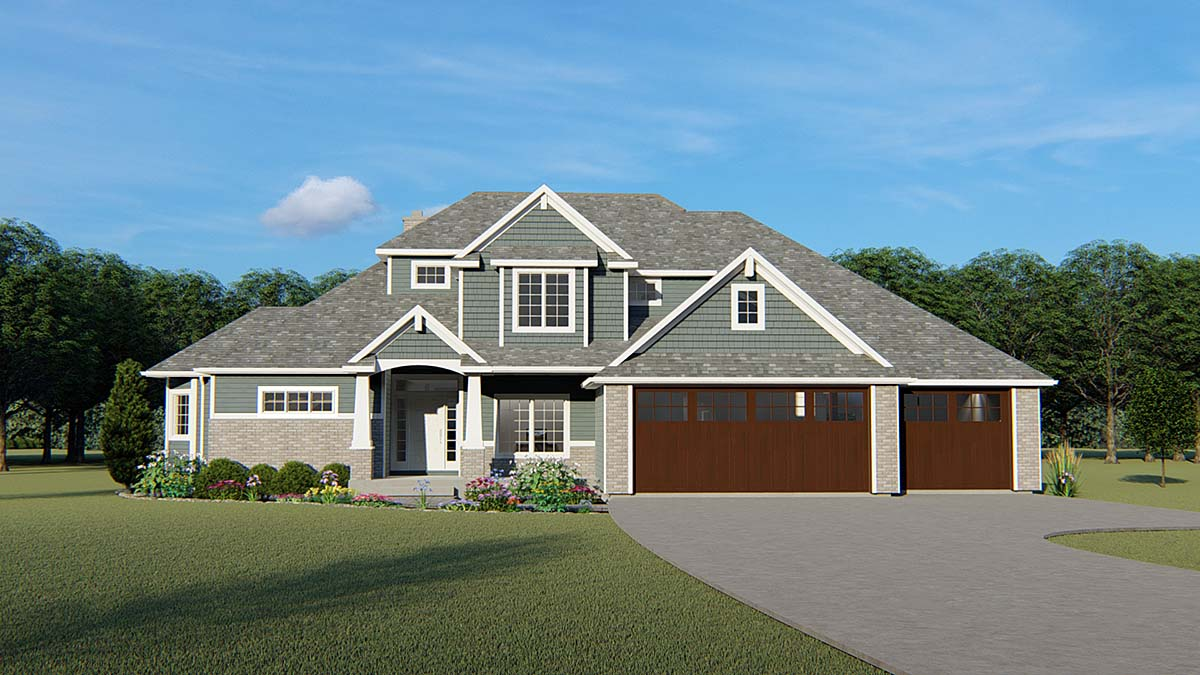 Craftsman, Ranch, Traditional House Plan 51847 with 4 Beds, 4 Baths, 3 Car Garage Front Elevation