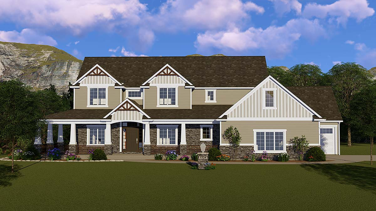Country, Craftsman, Ranch, Traditional House Plan 51849 with 4 Beds, 4 Baths, 3 Car Garage Front Elevation