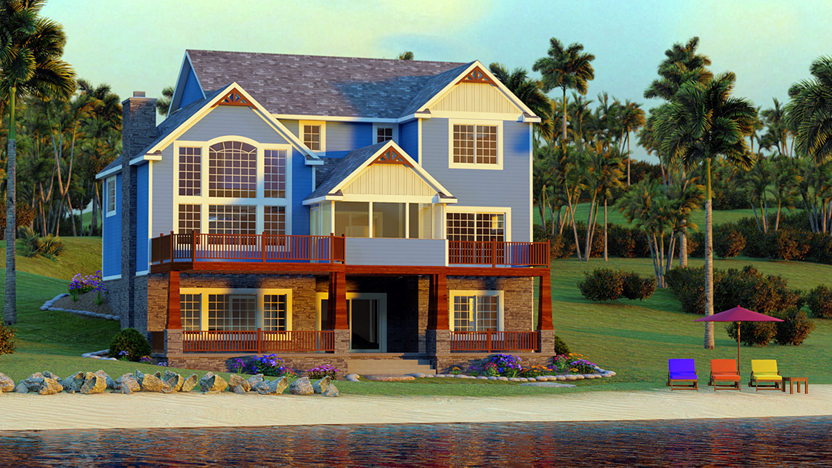 Bungalow, Cottage, Craftsman, Traditional House Plan 51851 with 3 Beds, 3 Baths, 2 Car Garage Rear Elevation